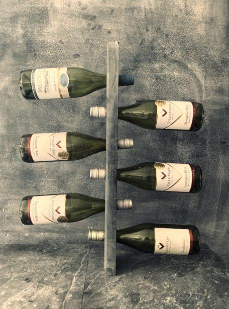Wall mounted slate wine rack